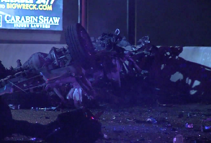 Remains of vehicle after collision with drunk driver